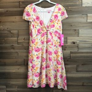 NWT Betsey Johnson Tan Floral Print Dress Size 14